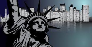 New York e statua della libertà nel vettore di notte Illustrazione Vettoriale
