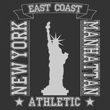 New york East Coast typography Manhattan. T-shirt graphics. Vector illustration Stock Photo