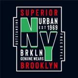 New York echt Brooklyn draagt typografie stock illustratie