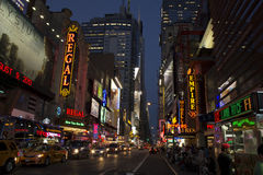 New York em a noite Fotografia de Stock Royalty Free
