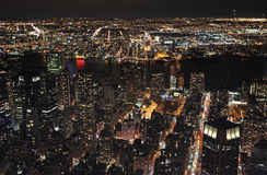 New York from Empire State Building by night, USA Stock Images