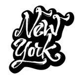 New York etikett Modern kalligrafihandbokstäver för serigrafitryck Royaltyfri Bild