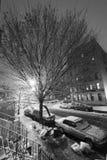 Neve no preto & no branco de Harlem Manhattan New York Fotografia de Stock