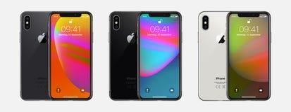 New York, EUA - 22 de agosto de 2018: IPhone novo X 10 de Apple do grupo realístico conservado em estoque da ilustração do vetor  ilustração stock