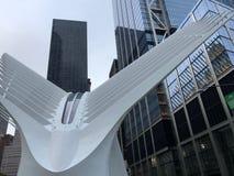 New York, EUA - 19 de julho de 2018 Uma vista do Oculus, um cubo no Lower Manhattan, New York do transporte Imagem de Stock