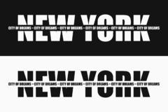 New York fashion typography with slogan on stripe - City of dreams. Graphics design for apparel and clothes print. Vector. New York fashion typography with royalty free illustration