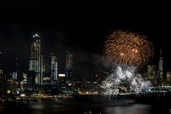 Fireworks on Hudson  River, New York City Stock Image
