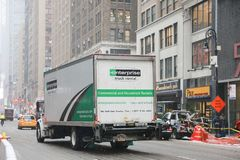Enterprise rental truck in New York. New York February 12, 2019:Enterprise rental truck in New York. Enterprise Rent-A-Car is the largest rental car company in stock image