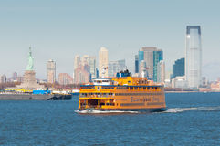 New York ferry with Statue of Liberty Royalty Free Stock Photography