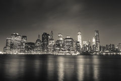 New York Financial District. In wide angle in night view Royalty Free Stock Photo