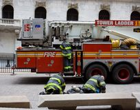 New York Fire Department. At work on Wall Street, NYC royalty free stock photography