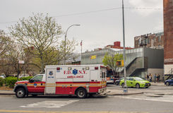 New York Fire Department car. In Williamsburg, Brooklyn Stock Photos