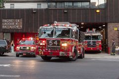 New York firefighters trucks leaving their fire station Royalty Free Stock Photography
