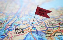 New York flag and map Stock Photos