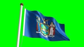 New York flag. Seamless  green screen stock video footage