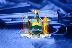 New York flag U.S. state Gun Control USA. United States. Gun Laws Stock Image