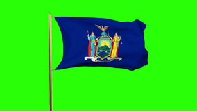 New york flag waving in the wind. Green screen. Alpha matte. Loops animation stock footage