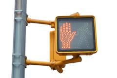 New York fot- trafikljus med den röda handen på vit Fotografering för Bildbyråer