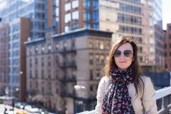New York fotografato ragazza all'alta linea Immagine Stock Libera da Diritti