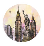 The New York with freedom monument watercolor hand drawing, famouse arhitectural buillding isolated Stock Image