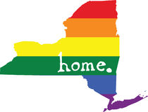 New York gay pride vector state sign. LGBT community pride vector U.S. state decal: easy-edit layered vector EPS10 file scalable to any size without quality loss royalty free illustration
