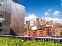 NEW YORK - GIUGNO 2013: La gente si muove seguendo l'alta linea parco della città Fotografia Stock