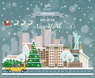 New York, glad jul och ett lyckligt nytt år! Fotografering för Bildbyråer