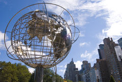New York Globe. Artwork Stands Proudly outside of Central Park Royalty Free Stock Image