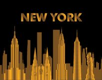 New York gold lettering. Vector with skycrapers and travel icons on black background. Travel card. vector illustration
