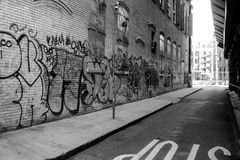 New York Graffiti. Graffiti located along a side street in Manhattan Stock Photography