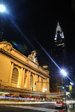 New York Grand Central at night. Chrysler building at the background Royalty Free Stock Images