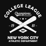 New York grunge print for apparel with baseball bat. Typography emblem for t-shirt. Design for athletic clothes. Vector. New York grunge print for apparel with Royalty Free Stock Image