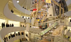 Guggenheim museum interior with Cattelans arwork Royalty Free Stock Photos