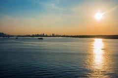 New York hamnsoluppgång Fotografering för Bildbyråer