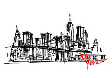 New York hand drawn view Royalty Free Stock Images