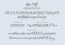 New York handwritten font. Script. Calligraphic set Stock Photos