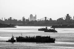 New York Harbor Black and White Stock Photos
