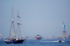 New York Harbor Boats Royalty Free Stock Photography