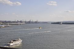 New York Harbor from Brooklyn Bridge over East River of Manhattan from New York City in United States. On 3rd july 2017 royalty free stock images