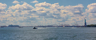 New York Harbor Panorama Stock Photo
