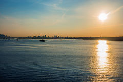 New York Harbor Sunrise Stock Image