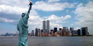 New York Harbor Twin Towers Stock Photos