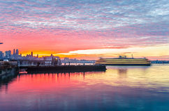 New York Harbour at Dawn Royalty Free Stock Image