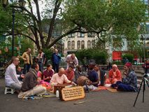 New York - Hase Krishna, das Musik in Union Square in New York spielt lizenzfreies stockbild