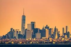 New York high rise skyline abd low rise Brooklyn borough royalty free stock photos