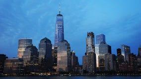 New York horisont från Hudsonet River Fotografering för Bildbyråer