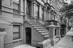New York houses in Perron Harlem in b&w Royalty Free Stock Photos