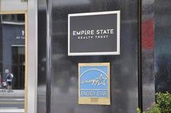 New York, il 2 luglio: Insegna dell'Empire State Building nel Midtown Manhattan da New York negli Stati Uniti Immagini Stock Libere da Diritti