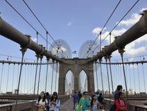 New York, il 3 luglio: Ponte di Brooklyn sopra East River da New York negli Stati Uniti Immagine Stock Libera da Diritti