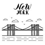 Illustration Of Brooklyn Bridge New York Stock